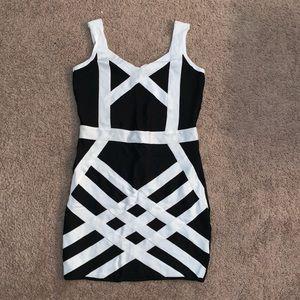 BeBe Black and White Bandage Dress